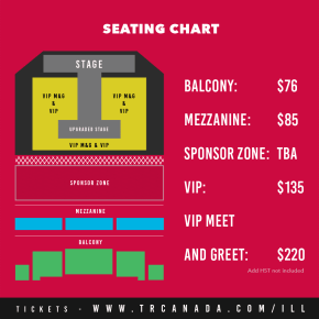 Illionaire Records Canada Tour 2015 seating chart