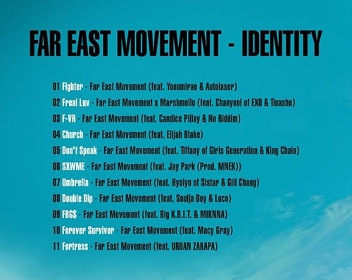 The track list for Far East Movement's upcoming album 'IDENTITY'