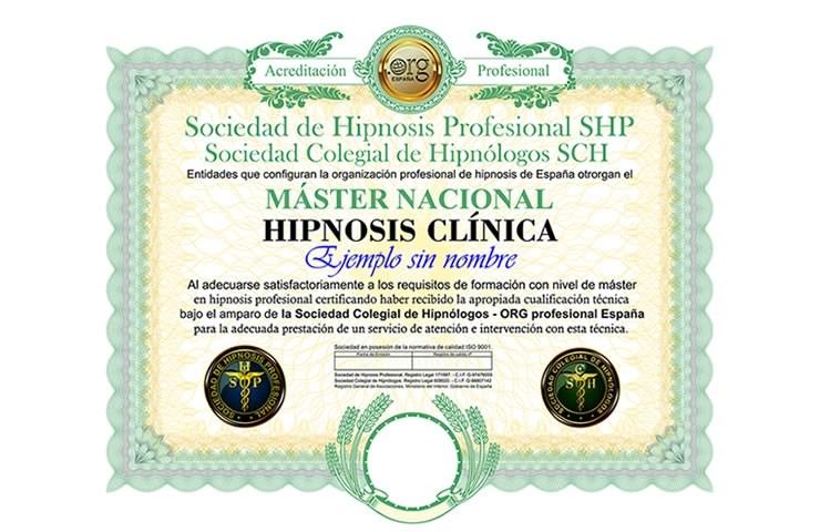 título máster nacional en hipnosis clínica