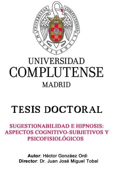 tesis doctoral hipnosis Héctor González Ordi