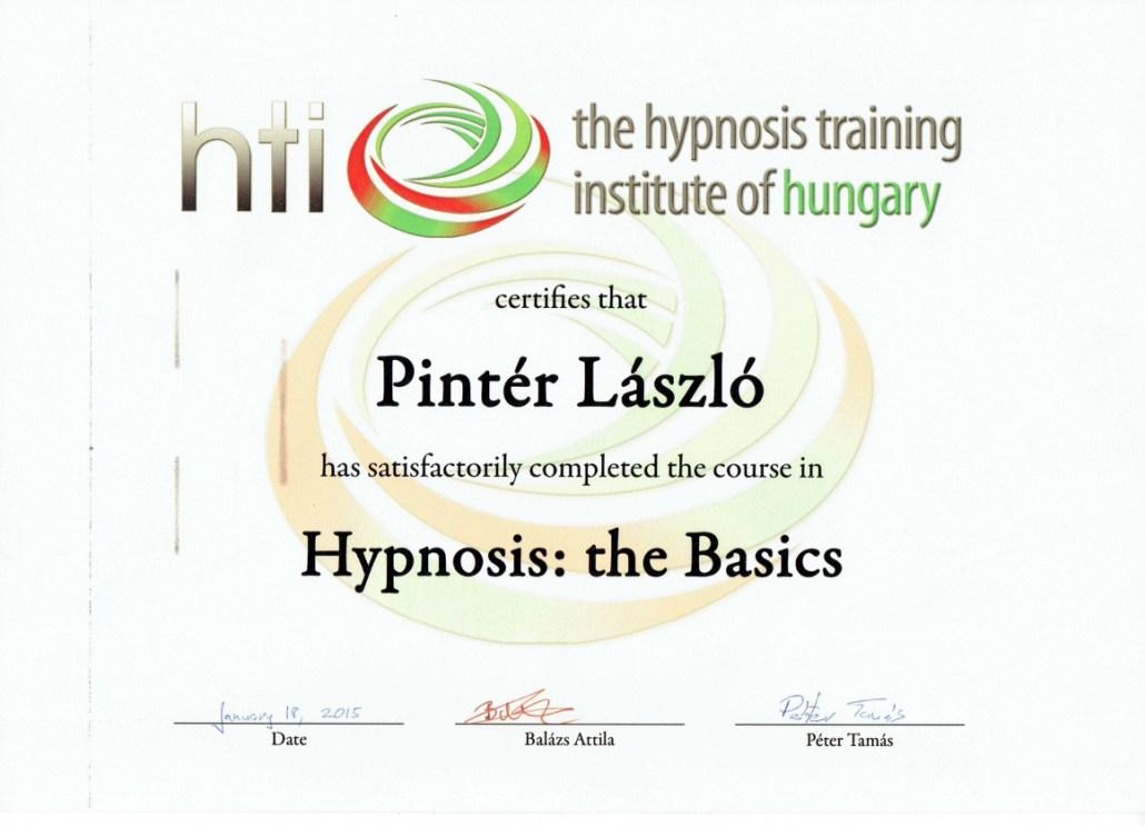 HTI hipnózis alaptanfolyam oklevél