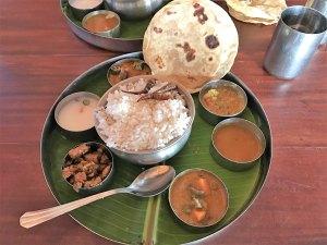 Thali eten bij Mango's in Jaffna Sri Lanka