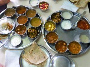 Thali eten in Sri Lanka en India