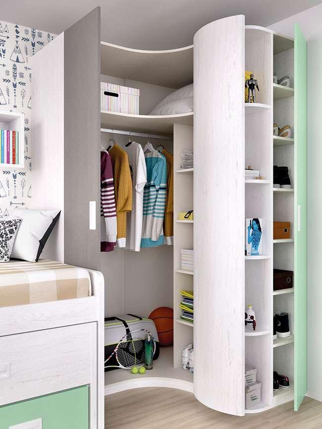 Dormitorio juvenil moderno compacto cama nido y cajones