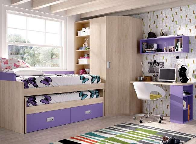 Dormitorio juvenil compacto con escritorio y armario