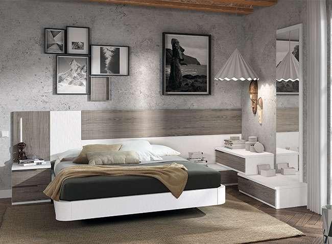 Dormitorio matrimonio asimtrico cama flotante cabecero