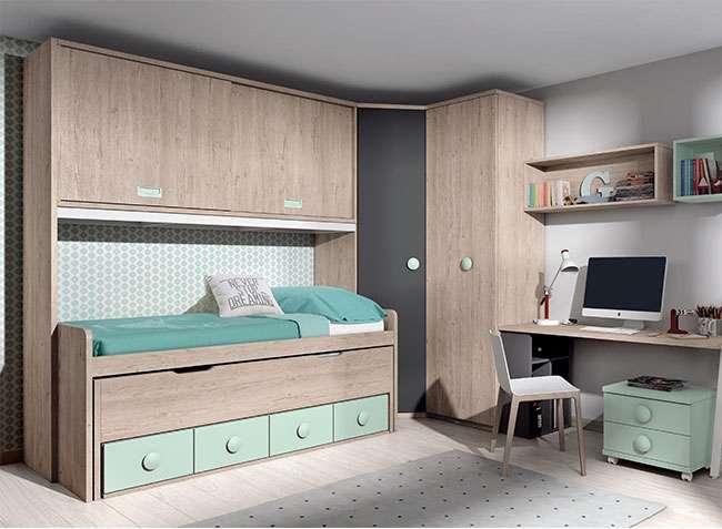Dormitorio puente juvenil cama nido cajones y escritorio