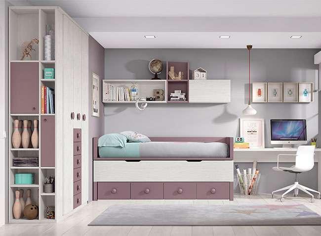 Habitaciones juveniles dobles compactas modernas con cama