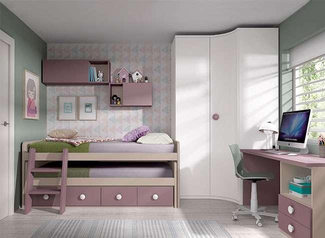 Dormitorio juvenil  muebles modulares compactos dobles