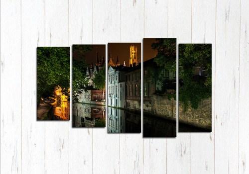Модульная картина Брюгге ночью