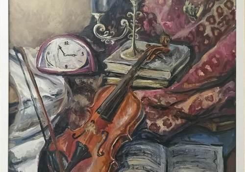 Картина натюрморт со скрипкой