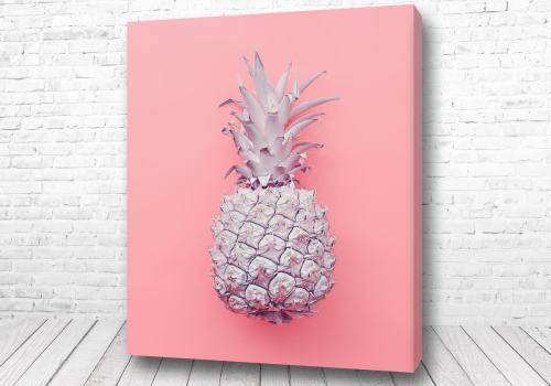 Постер Белый ананас на розовом фоне