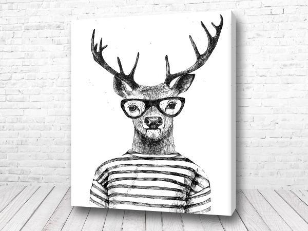 Постер Олень в очках