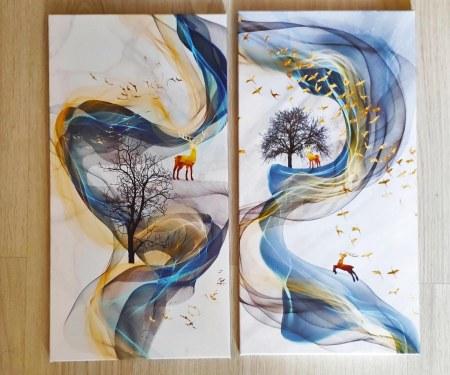 Золотистая модульная картина с оленями