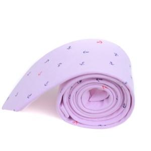 Roze stropdas met anker opdruk.
