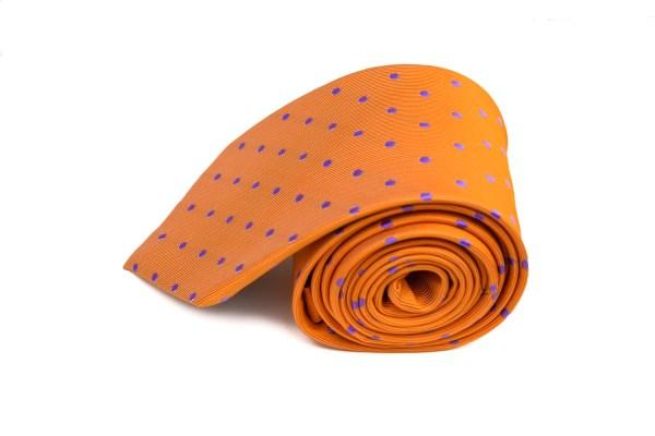 Oranje Koningsdag stropdas met stippen.