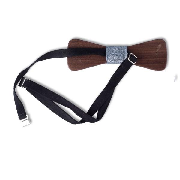 Donker houten zwarte strik in set met pochet en broche.