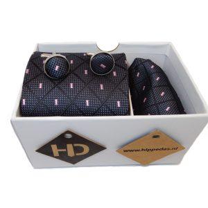 Zwart geruit met roze details set stropdas manchetknopen pochet