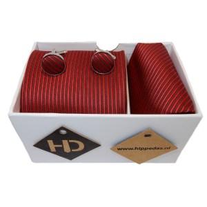 Rode stropdas manchetknopen pochet
