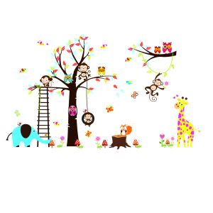 muursticker boom met aapjes en ladder