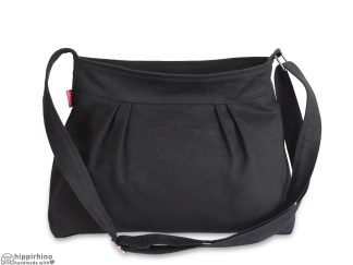 Black Small Pleated Canvas Purse Bag