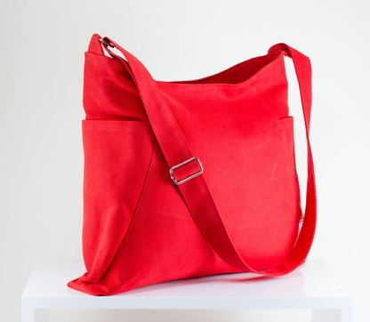 red canvas hobo bag