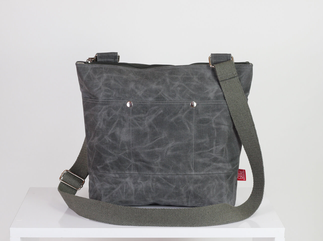 6c5820c43607 Gray waxed unisex messenger tote bag handmade pocket on front full ...