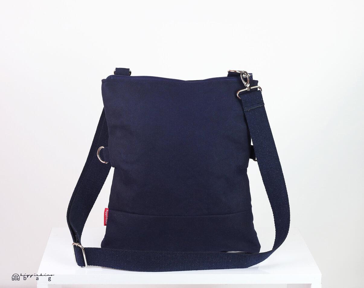 f9c007387384 Small Navy Blue Waxed Crossbody Foldover Tote Bag