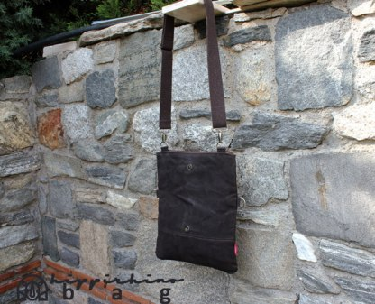 Dark Brown Waxed Foldover Tote Bag