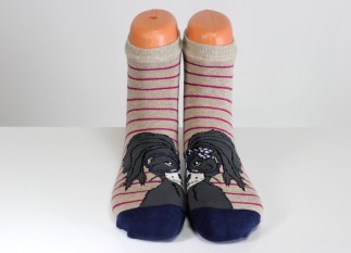 striped cat faced socks