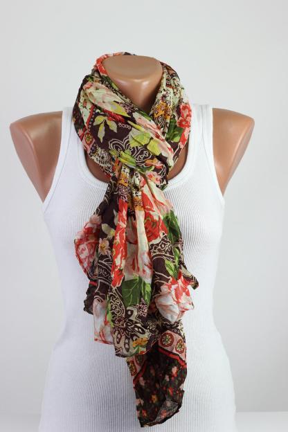 Oversize Wrinkled Floral Scarf