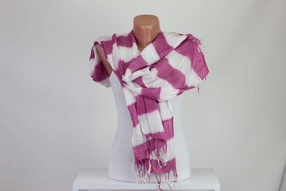Pink White Striped Scarf