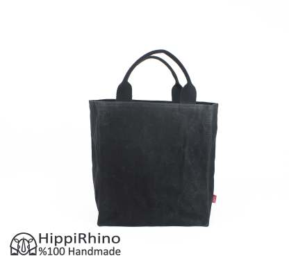 Black Waxed Grocery Market Bag