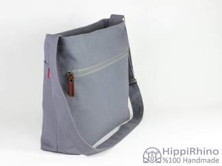 Grey Cotton Messenger Bag