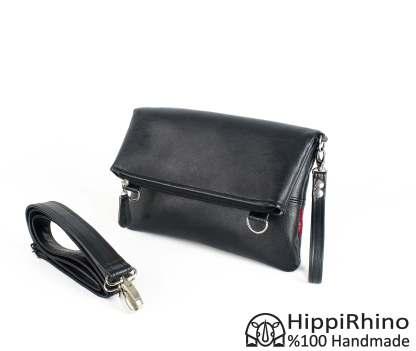 Black Vegan Leather Folded Tote Bag