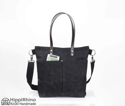 Black Waxed Tote Bag