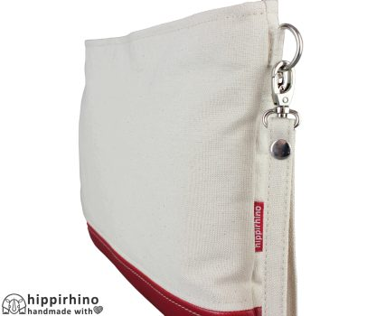 Crossbody Raw Cotton Leather Wristlet Clutch