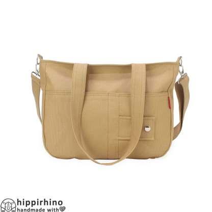 Camel Shoulder Crossbody Cotton Canvas Washable Messenger Bag