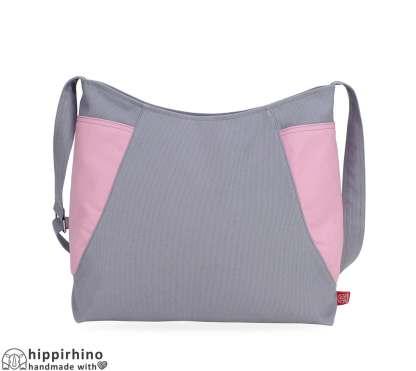 Light Grey Canvas Hobo bag Candy Pink Side Pockets