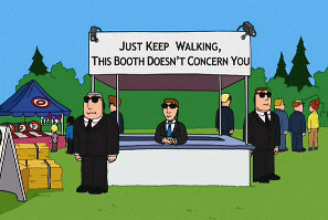 Just keep walking, this booth doesn't concern you.