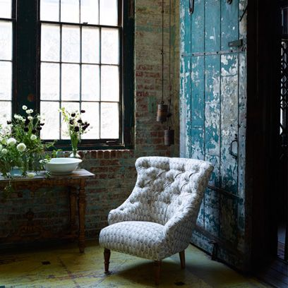 ideas for a bare living room wall home decoration loft brick walls shabby chic upholstered armchair