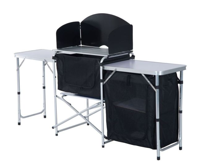 Outsunny  Foot Portable Fold Up Camp Kitchen With Windscreen