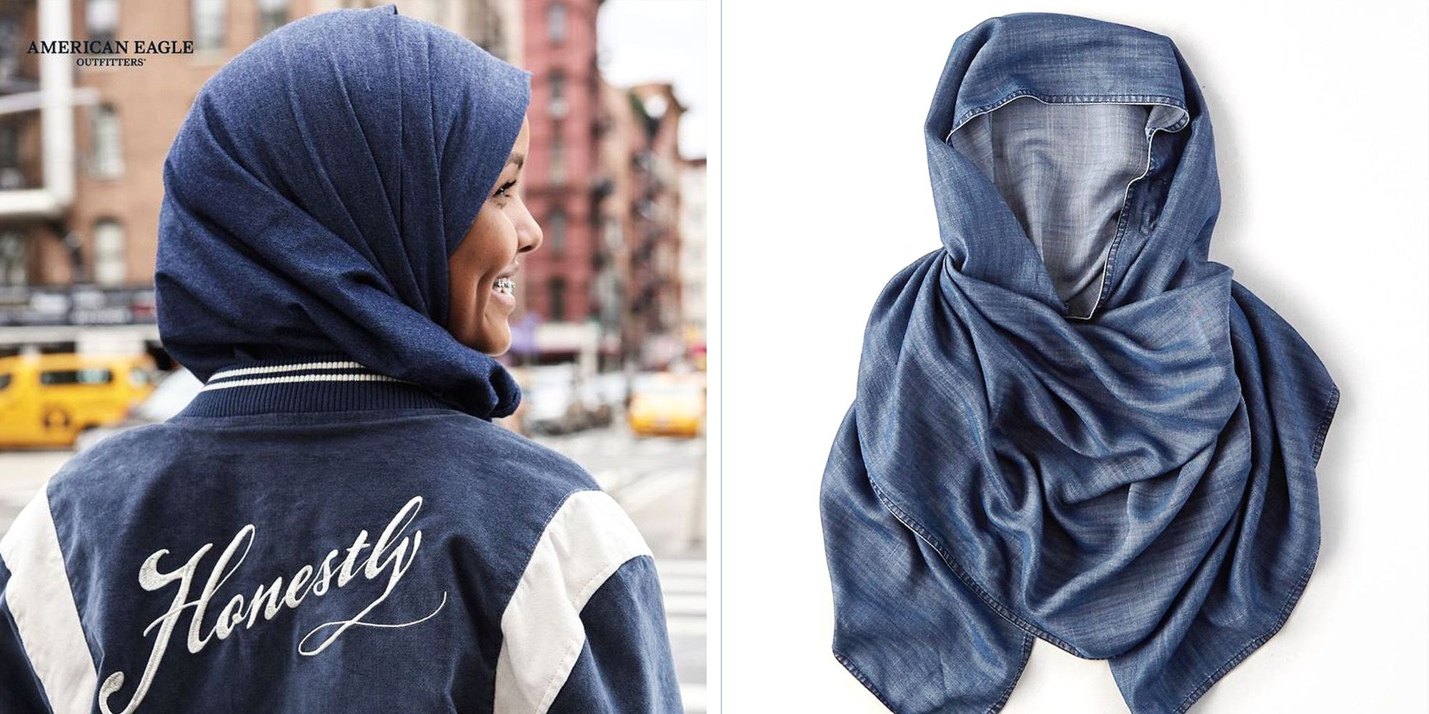 American Eagle Introduces a Cool Denim Hijab to Its Online Collection