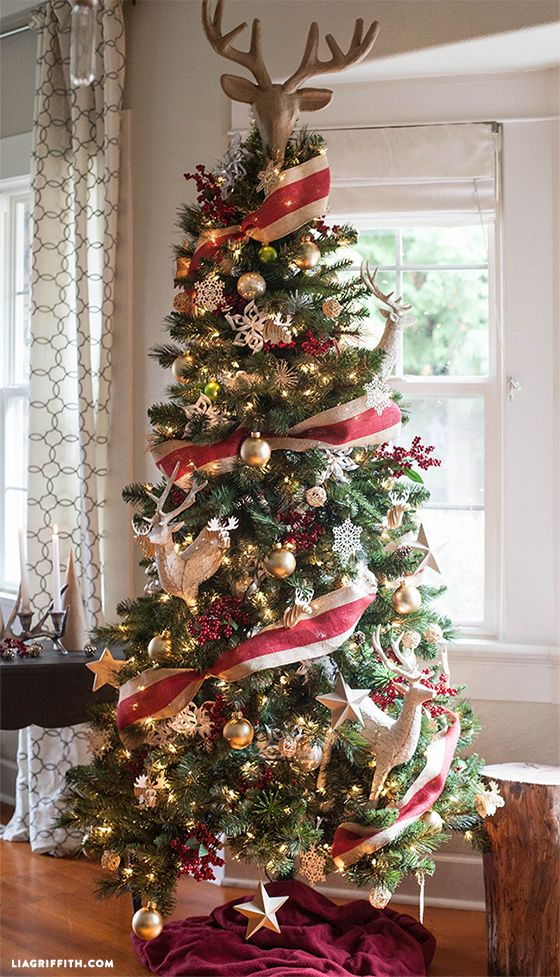 Christmas Tree Decorated In Red