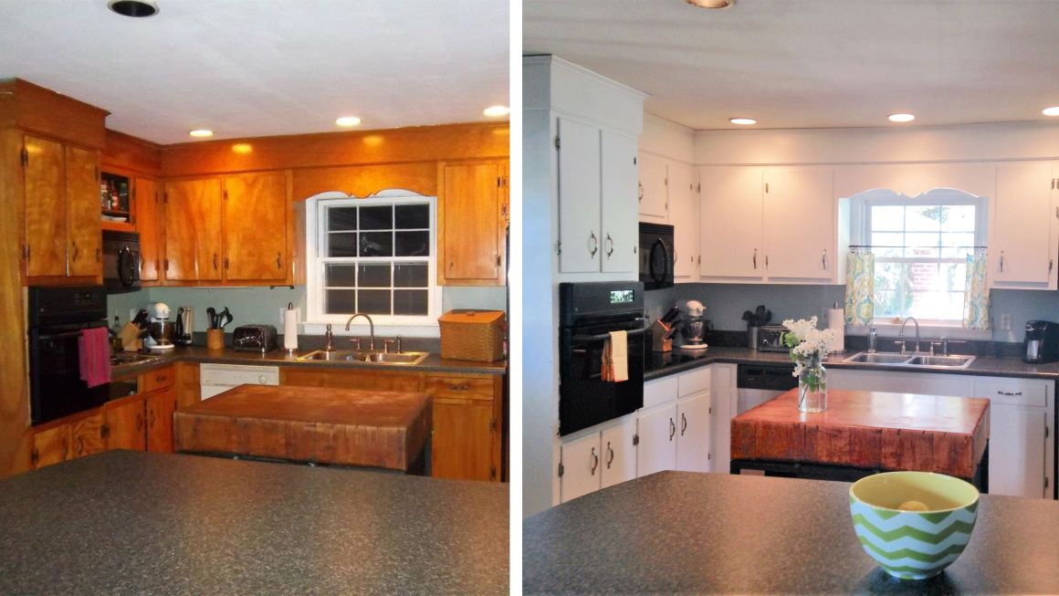 10 diy kitchen cabinet makeovers - before & after photos that prove