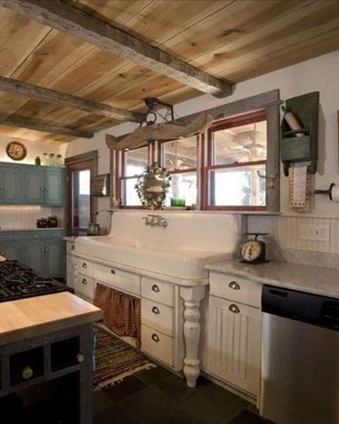 rustic farmhouse country kitchen 34 Farmhouse Style Kitchens - Rustic Decor Ideas for Kitchens
