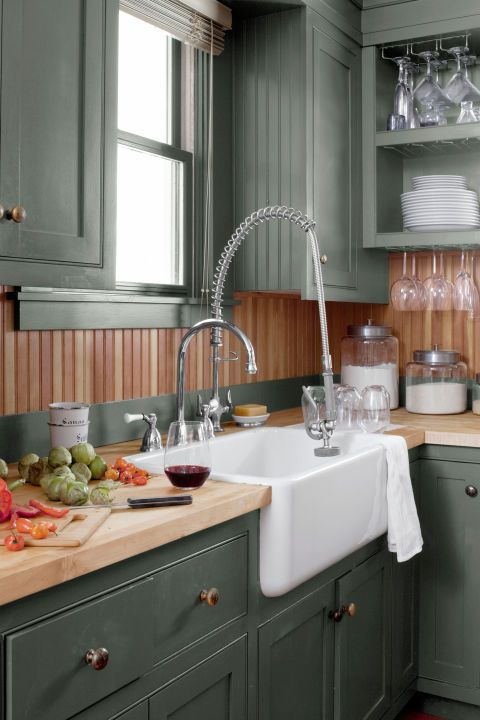 green kitchen cabinets sink 33x22 10 ideas best paint colors for kitchens