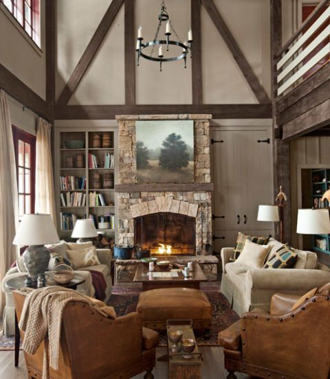 lake house living room photos leather chairs rustic decorating ideas cabin decor making a georgia home