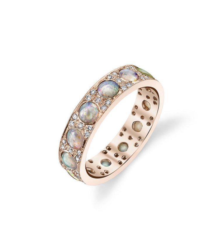 irene neuwirth opal and diamond stacking ring