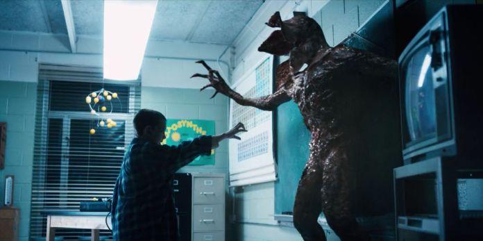Eleven (Millie Bobbie Brown) vs. The Demogorgon in Netflix's Stranger Things